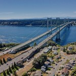Aerial photo of the Tacoma Narrows Bridges