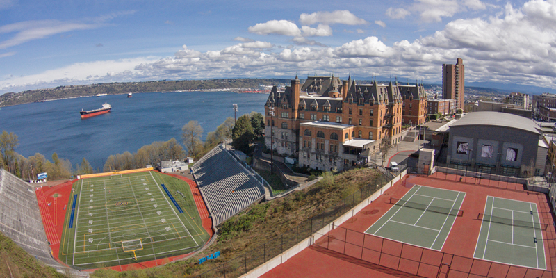Aerial view from Stadium High School in Tacoma